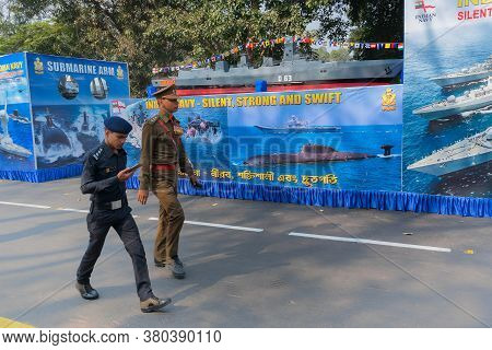 Kolkata, West Bengal, India - 26th January 2020 : Naval Officers Passing By Model Submarine, In Repu