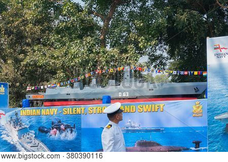 Kolkata, West Bengal, India - 26th January 2020 : Indian Naval Officer Looking At A Model Submarine,