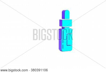 Turquoise Glass Bottle With A Pipette. Vial With A Pipette Inside Icon Isolated On White Background.