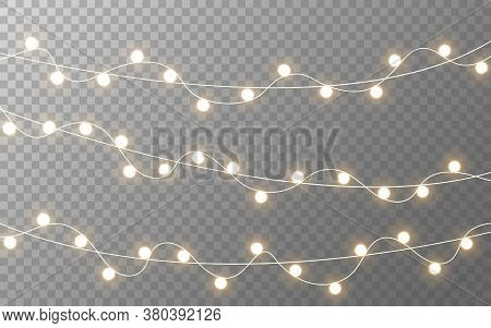Christmas Lights. Gold Glowing Garland On Transparent Background. Realistic Light Bulbs Decoration.
