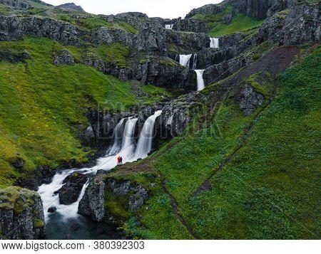 Klifbrekkufossar Waterfalls On The Eastern Coast Of Iceland