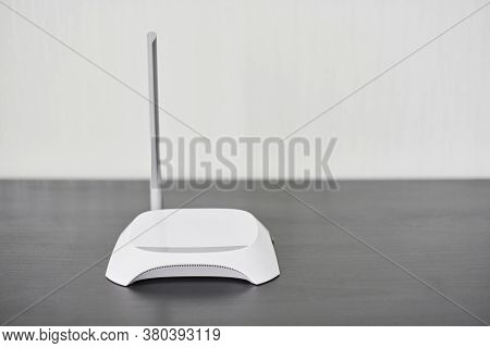 Wifi Wireless Router, Copy Space. Wireless Device For Broadband Wi-fi 6 Network In Office Or Home. S