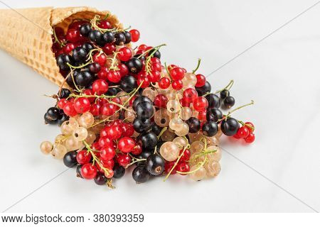 Mix Of Currant Berries In Waffle Ice Cream Cone On White Marble Background. Red, Black And White Cur