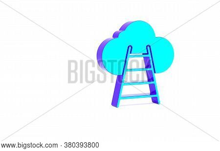 Turquoise Ladder Leading To Cloud Icon Isolated On White Background. Stairs Leading To The Cloud. Mi