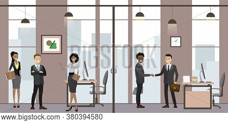 Caucasian Business People In Modern Office, Cartoon Office Manager In The Workplace