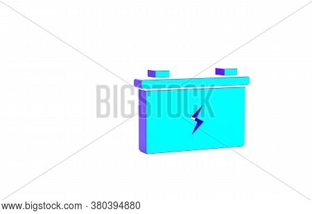 Turquoise Car Battery Icon Isolated On White Background. Accumulator Battery Energy Power And Electr