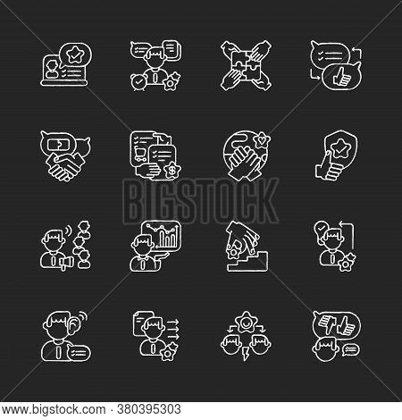 Communication Skills Chalk White Icons Set On Black Background. Different Professional Talents And P