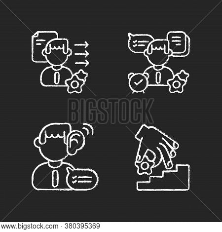 Professional Skills Development Chalk White Icons Set On Black Background. Self Organization, Listen