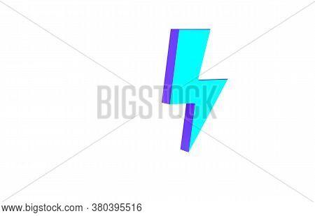 Turquoise Lightning Bolt Icon Isolated On White Background. Flash Sign. Charge Flash Icon. Thunder B