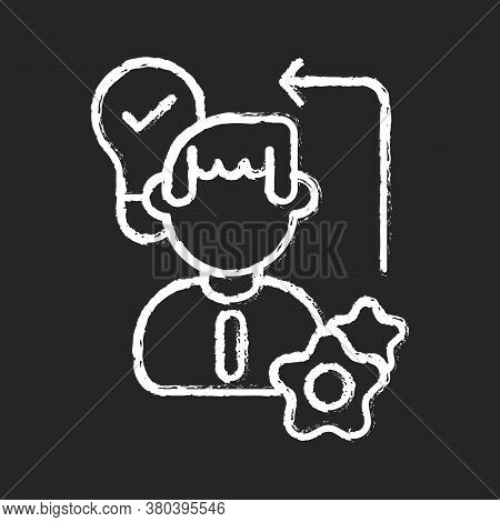 Diligence Chalk White Icon On Black Background. Creative Thinking, Self Improvement Skills, Personal