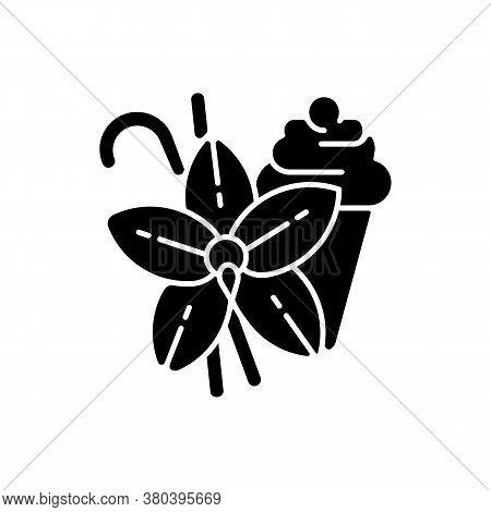 Vanilla Black Glyph Icon. Vanilla Flower And Sticks. Aromatic Flavor. Pastries And Confectionery Fla