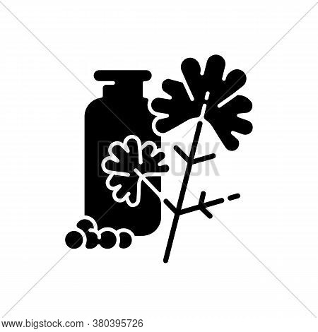 Coriander Black Glyph Icon. Chinese Parsley. Cilantro. Herbs And . Food Flavoring And Seasoning. Nat