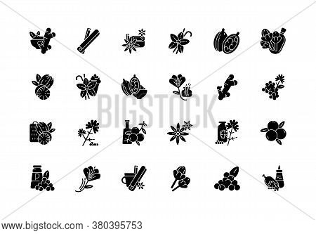 Asian Black Glyph Icons Set On White Space. Culinary Herbs. Cooking Ingredients. Natural Supplements