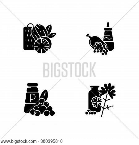 Condiments Black Glyph Icons Set On White Space. Food Seasoning. Natural Supplement. Cooking Condime