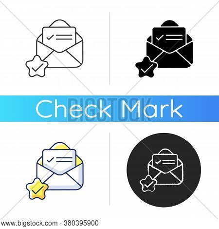 Mail Received Icon. Envelope With Letter. Email Message. Newsletter Accepted. Answer In Document. Co