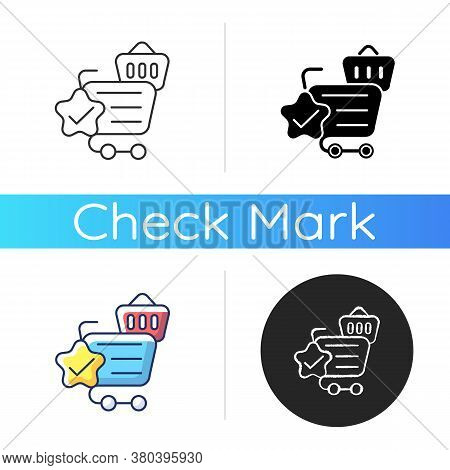 Quality Online Shopping Icon. Internet Store Best Service. Cart And Trolley With Checkmark. Purchase