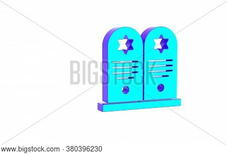 Turquoise Tombstone With Star Of David Icon Isolated On White Background. Jewish Grave Stone. Graves