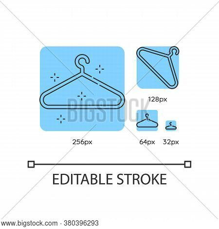 Empty Hanger Blue Linear Icons Set. Hang Clothes. Garment Storage. Housekeeping Symbol. Thin Line Cu