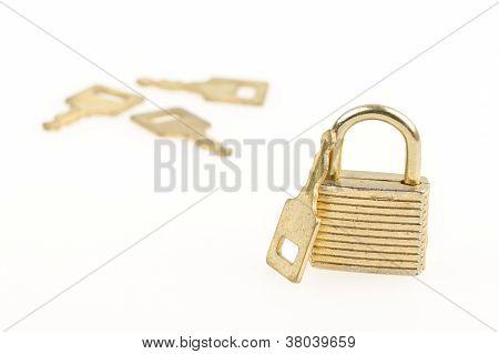 Closed Padlock And Keys Isolated