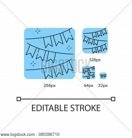 Party Garland Blue Linear Icons Set. Hang Festive Flags. Celebrate Birthday And Anniversary. Thin Li