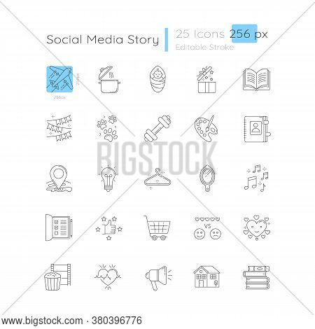 Social Media Story Linear Icons Set. Travel And Tourism. Cooking Recipe. Creative Hobby. Customizabl