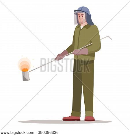 Metallurgy Factory Worker Semi Flat Rgb Color Vector Illustration. Heavy Industry And Ironworks. Ste