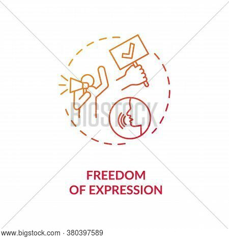 Freedom Of Expression Concept Icon. Free Speech Idea Thin Line Illustration. Freedom Of Expressing O