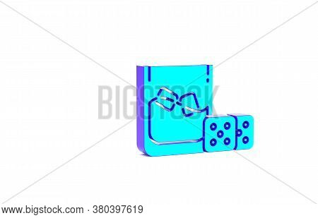 Turquoise Game Dice And Glass Of Whiskey With Ice Cubes Icon Isolated On White Background. Casino Ga