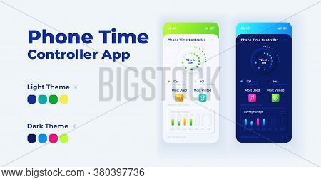 Phone Time Controller Cartoon Smartphone Interface Vector Templates Set. Mobile App Screen Page Day