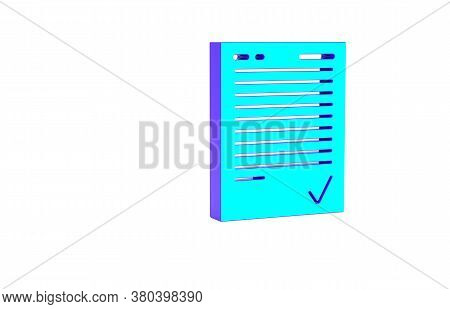Turquoise Exam Sheet With Check Mark Icon Isolated On White Background. Test Paper, Exam, Or Survey