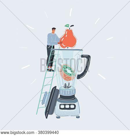 Vector Illustration Of Man Making Fresh Vegetable Juice With Big Blender