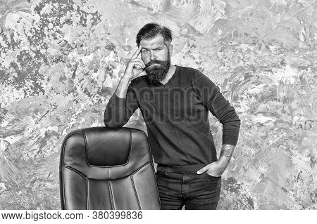 Hr Department. Empty Chair. Bearded Boss Stand In Office. Job Offer. Office Worker. Need Change Of S