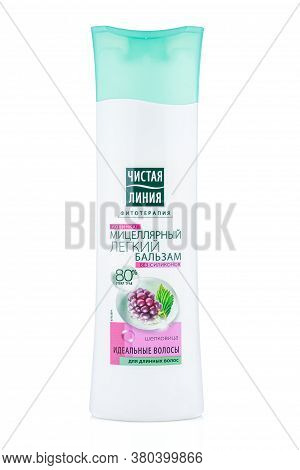 Moscow, Russia - July 22, 2020: Clean Line Micellar Light Balsam With Mulberry For Long Hair In A Wh