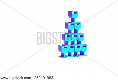 Turquoise Wine Glasses Stacked In A Pyramid Tower Icon Isolated On White Background. Wineglass Sign.