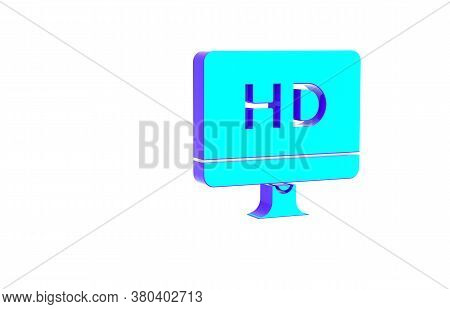 Turquoise Computer Pc Monitor Display With Hd Video Technology Icon Isolated On White Background. Mi