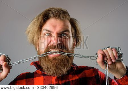 Freedom Of Speech. Metal Chain. Man Bite Chain. Man With Metal Chain. Dependence. Freedom Concept. B
