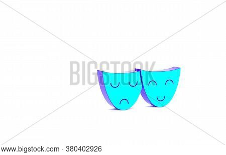 Turquoise Comedy And Tragedy Theatrical Masks Icon Isolated On White Background. Minimalism Concept.