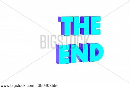 Turquoise The End Handwritten Inscription Icon Isolated On White Background. Closing Movie Frame. Mo