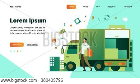 Courier With Truck Delivering Order. Man Carrying Box From Shipping Lorry With Other Packages. Vecto