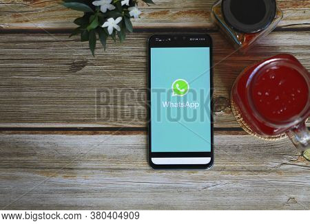 Chiang Mai, Thailand - August 11,2020: Whatsapp Logo On Smartphone Screen Placed On Table Work. Empt