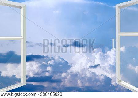 Opened Window Overlooking Blue Beautiful Sky With White Clouds. Heavenly Panorama. Lovely White Clou