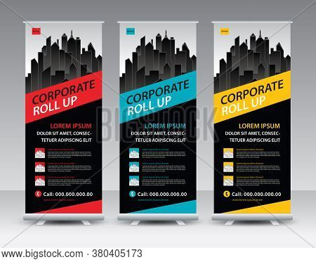 Corporate Roll Up Banner Stand Vector Creative Design. Sale Banner Stand Or Flag Design Layout. Mode