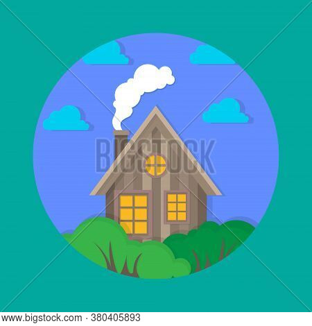 A Sketch Of A Wooden Hut With Smoke From A Chimney. Vector House