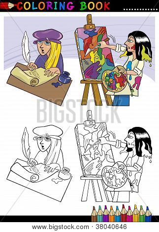 Poet And Painter Cartoon For Coloring
