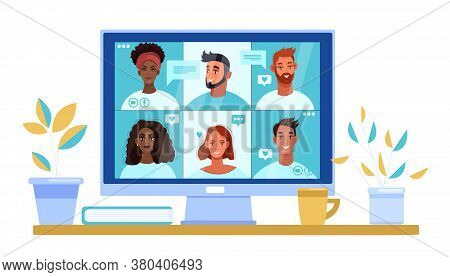 Video call illustration with diverse young people faces on computer screen. Virtual meeting concept in flat style with home workplace, multiracial men and women. Video call corporate vector banner