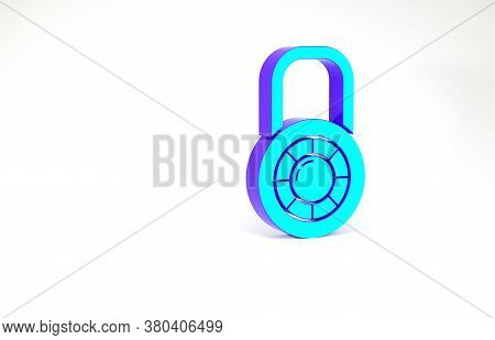 Turquoise Safe Combination Lock Wheel Icon Isolated On White Background. Combination Padlock. Securi