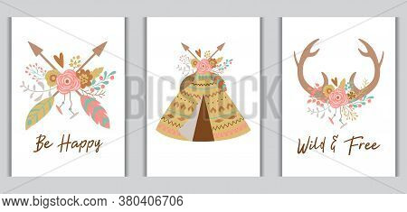 Boho Chic Card Template Collection For Bohemian Birthday Arrows, Teepee, Deer Horns Decorated Flower
