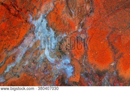 Full Screen Texture Of Bright Red Jasper With Blue Chalcedony
