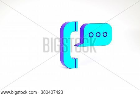 Turquoise Telephone With Speech Bubble Chat Icon Isolated On White Background. Support Customer Serv