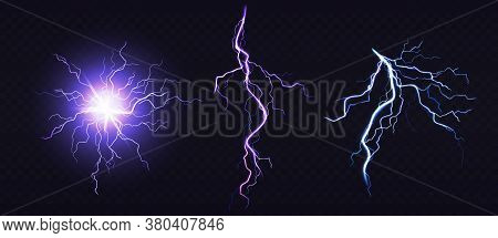 Electric Ball And Lightning Strike, Impact Place, Plasma Sphere Or Magical Energy Flash Of Blue And